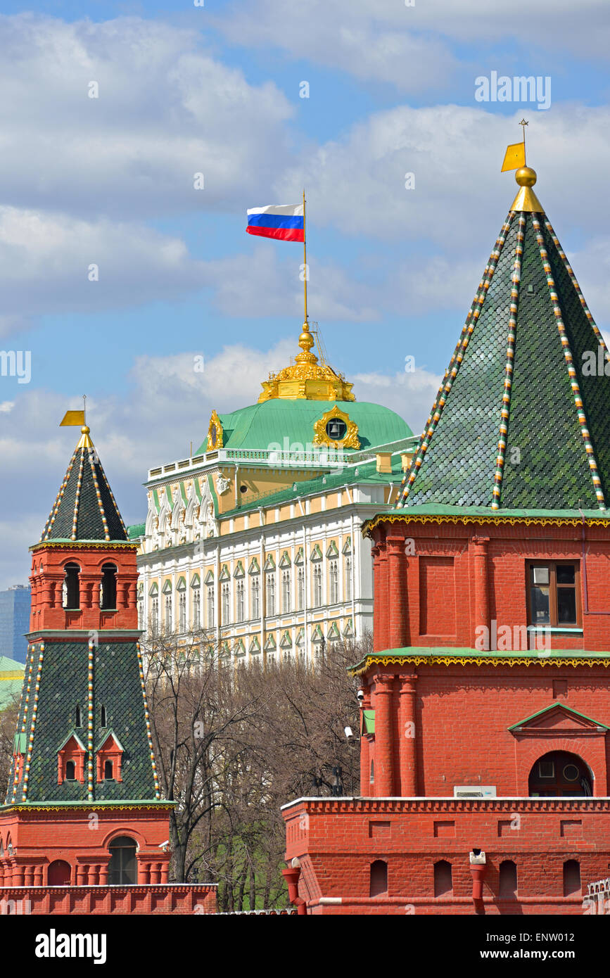 Flag of Russian Federation on Grand Kremlin Palace, Moscow - Stock Image