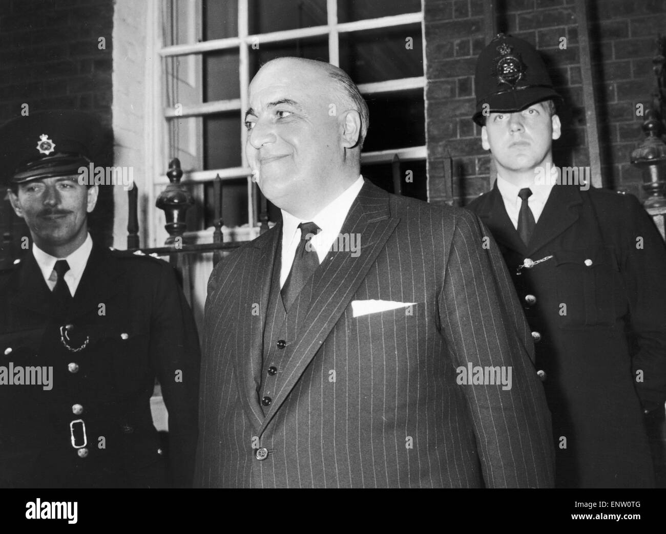 Lord Kilmuir Lord Chancellor (Sir David Maxwell Fyffe) seen here outside 10 Downing Street following the resignation - Stock Image