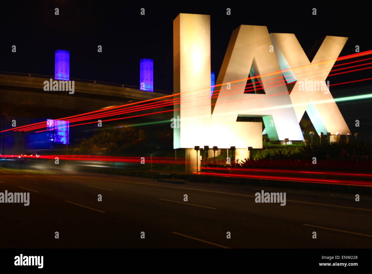 The LAX sign, Los Angeles airport during the nighttime - Stock Image