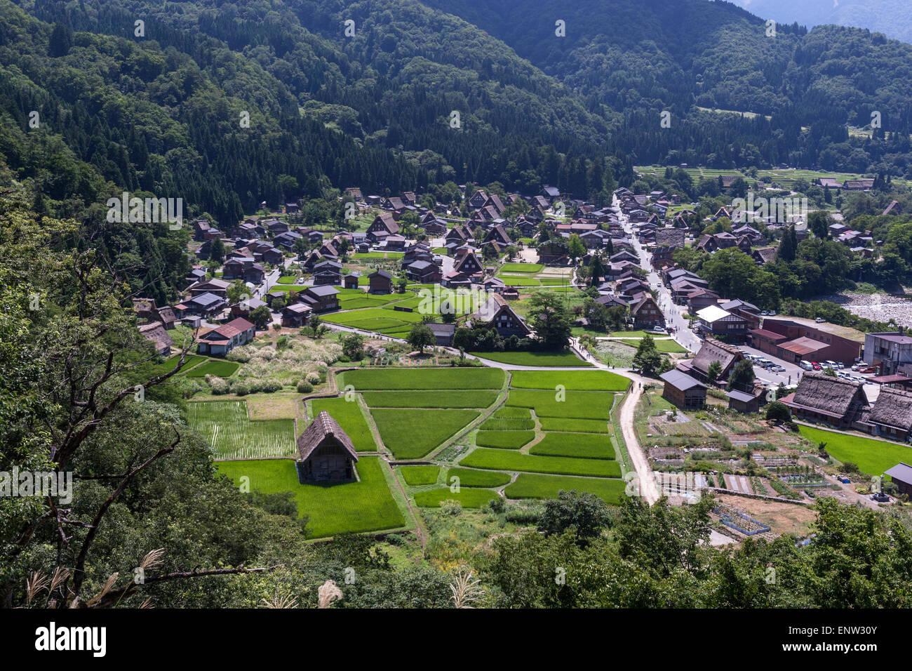 Overal view of Shirakawa-gō and Gokayama a traditional village with building style known as gasshō-zukuri. - Stock Image