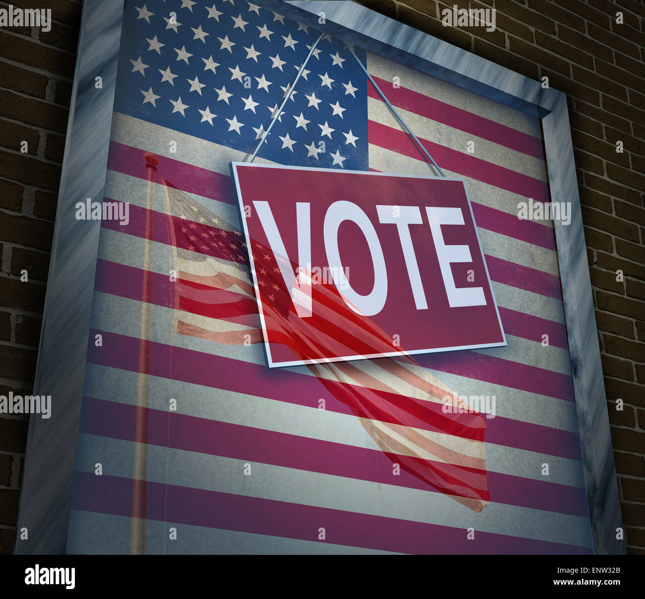 American vote concept and United States elections symbol as a window with a US flag with a voting sign as an icon - Stock Image