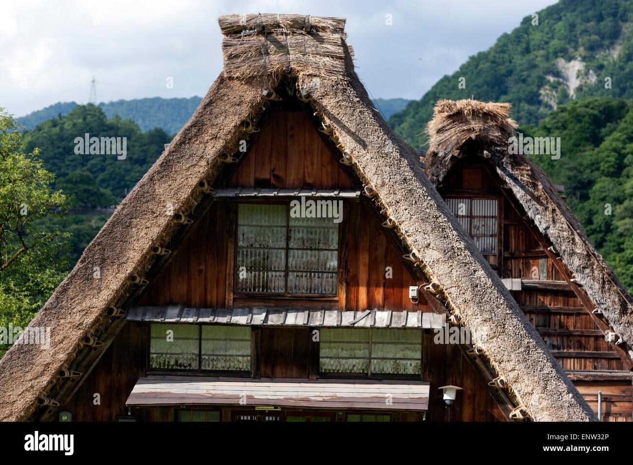 Roof of  gasshō-zukuri houses in the traditional villages of Shirakawa-gō and Gokayama a traditional village - Stock Image