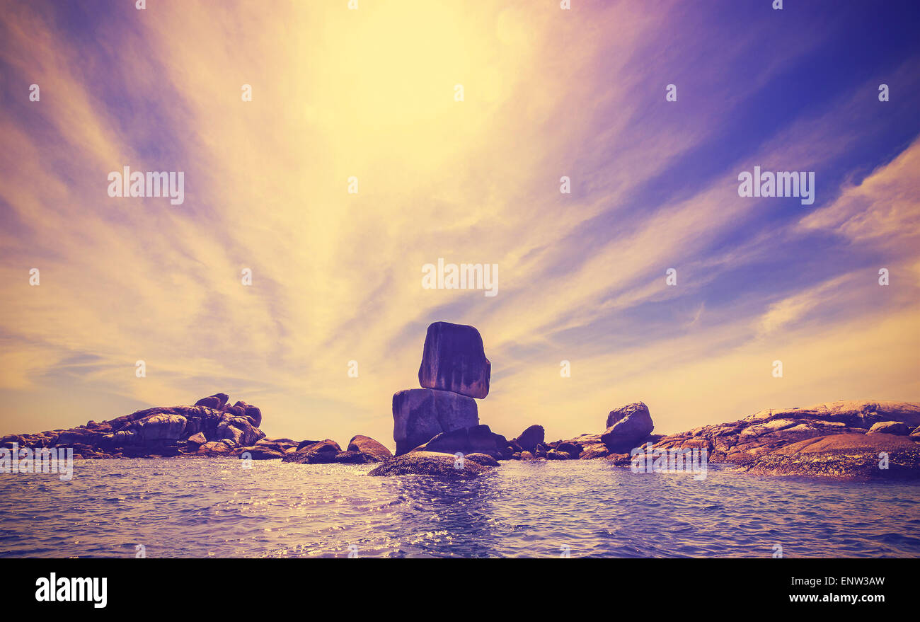 Vintage toned nature background, rocky island in Thailand. - Stock Image