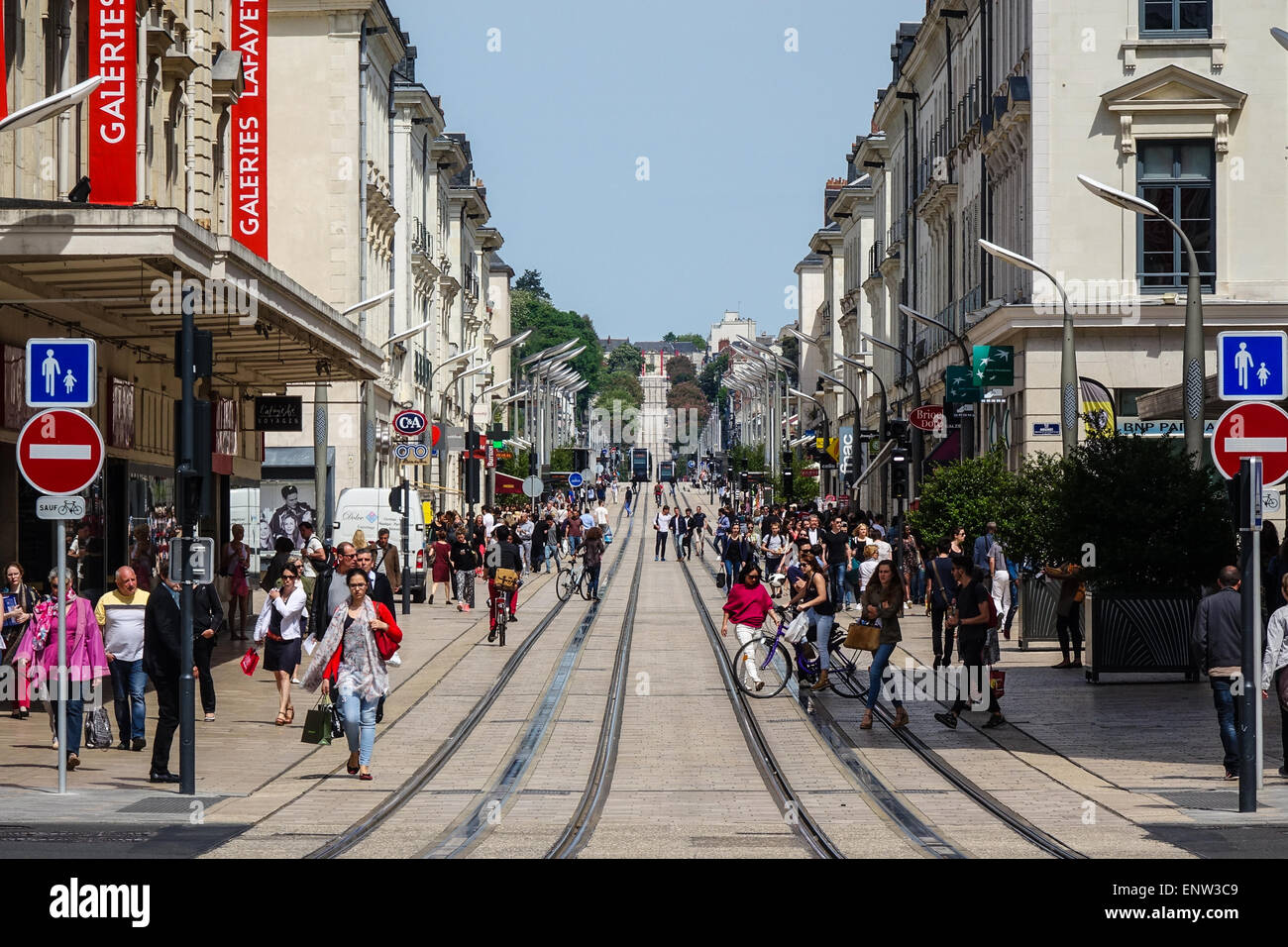 Tramway and trams in Tours, France Stock Photo