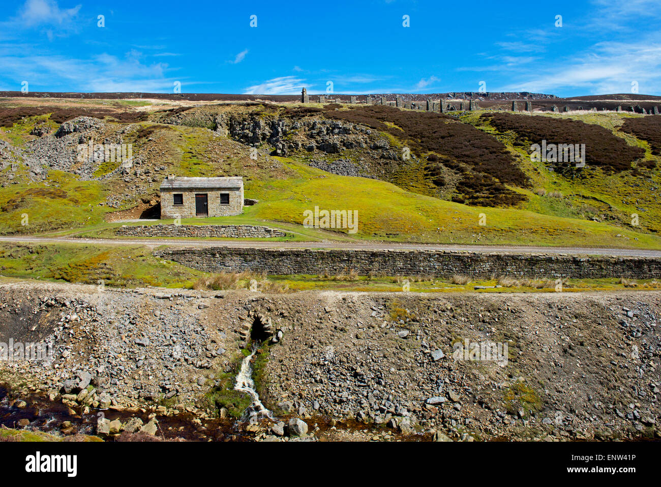 The Old Gang lead mining field, Swaledale, Yorkshire Dales National Park, North Yorkshire, England UK - Stock Image