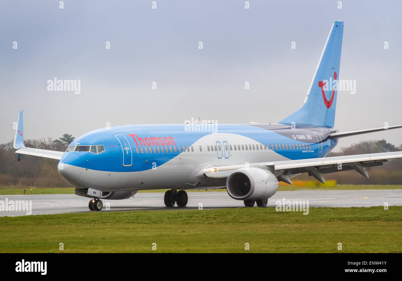 Thomson Airways Boeing 737-800 NG Next Gen G-TAWN just landed at Manchester Airport - Stock Image