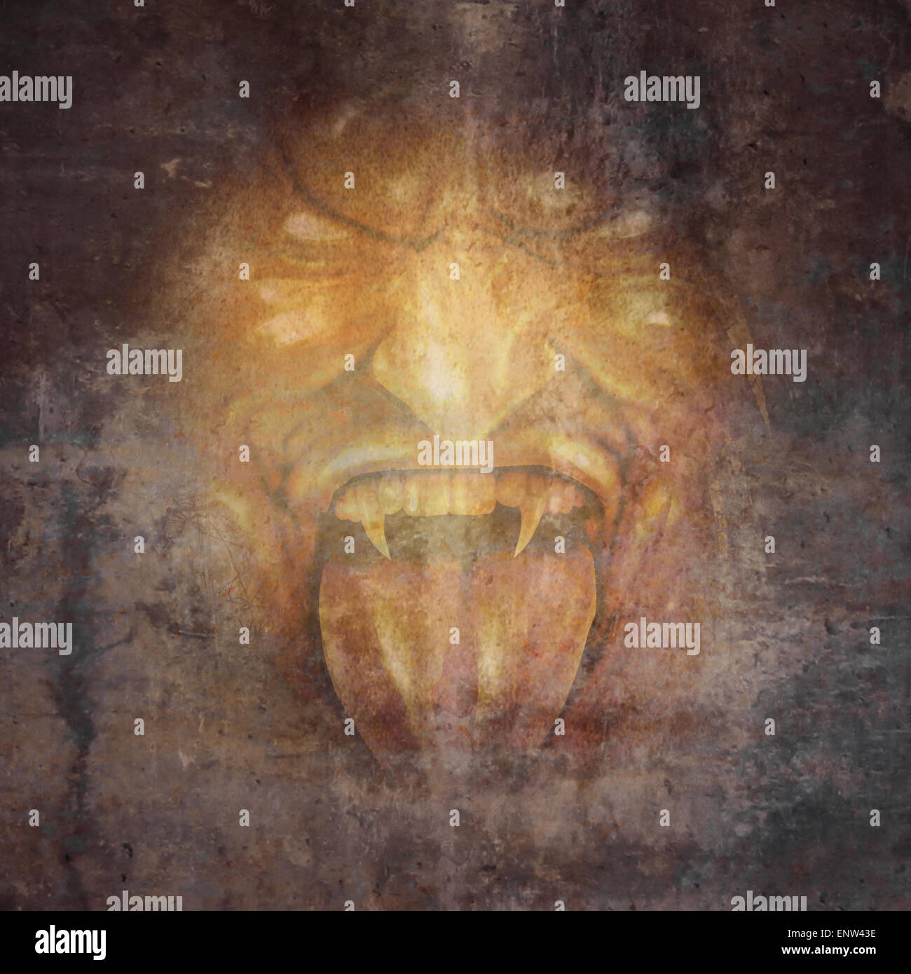 Demon face and scary monster concept as a screaming cruel zombie or vampire appearing from the dark shadows as a - Stock Image