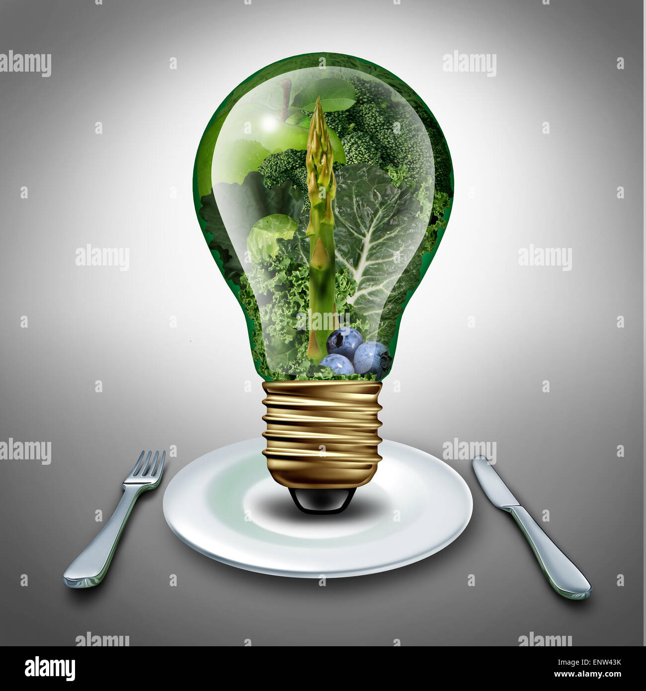 Eating healthy idea and diet tips concept as a lightbulb with fruits and vegetables inside as an inspiration symbol - Stock Image