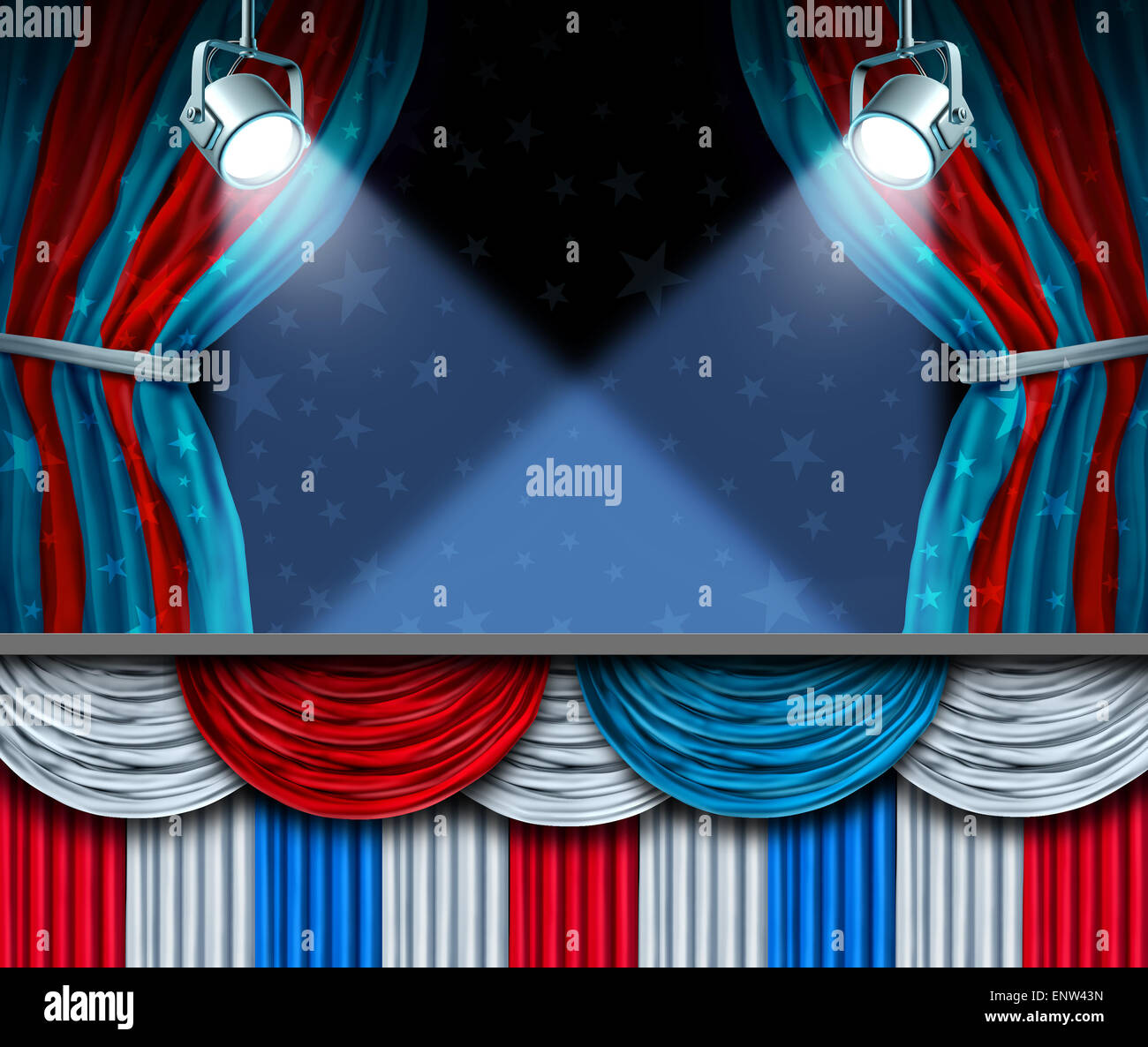 Election background or fourth of July design element with stage spot lights and curtains with blank space as a concept - Stock Image