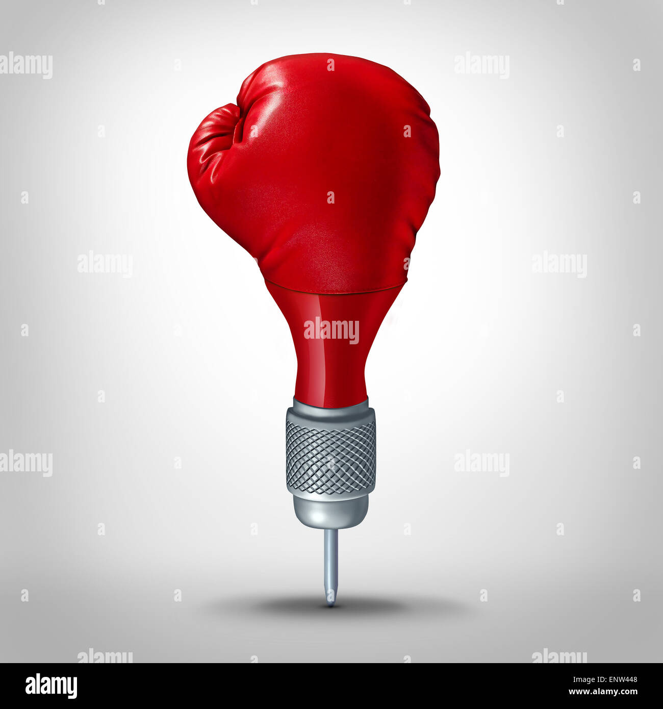 Marketing strategy and competitive target planning concept as a dart shaped with a red boxing glove as a business - Stock Image