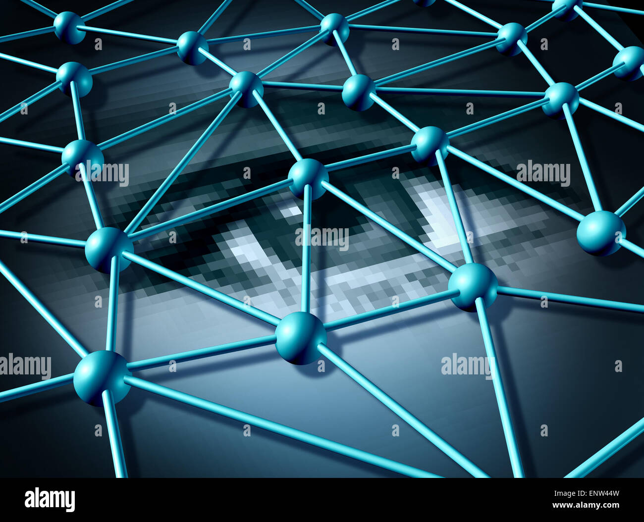 Personal data and password login information protection technology concept as a three dimensional connected network - Stock Image