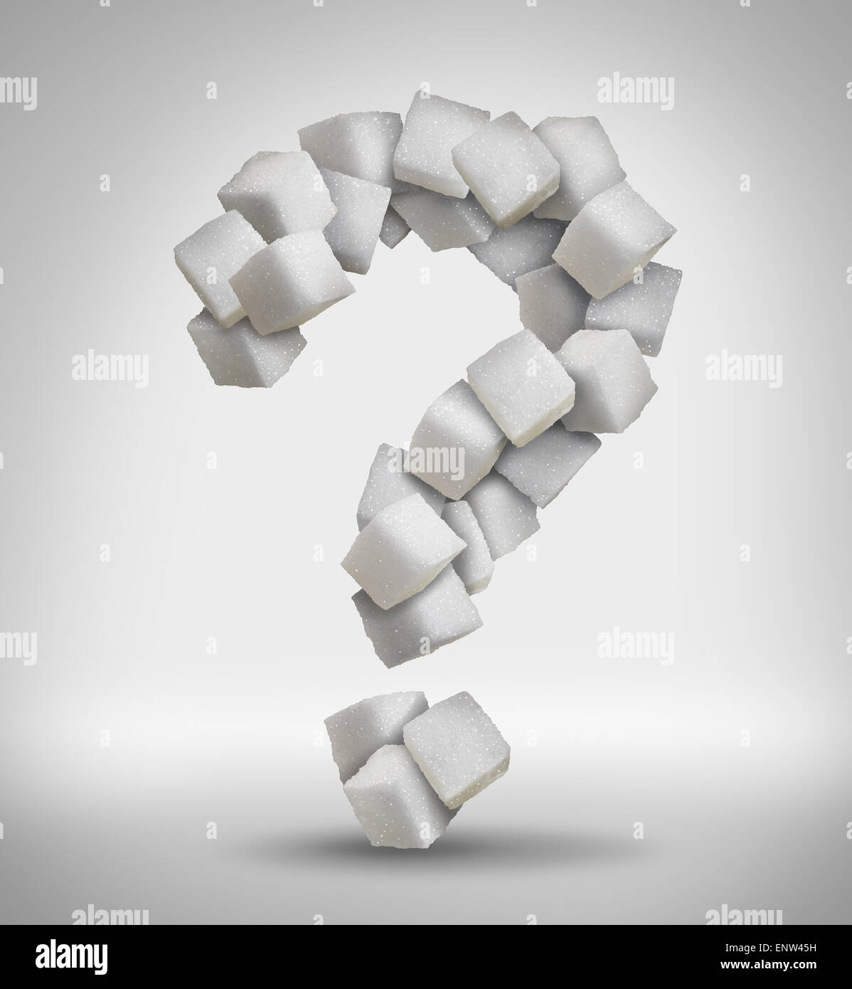 Sugar questions concept sweet food ingredient with a close up of a pile of delicious white lumps of cubes shaped - Stock Image