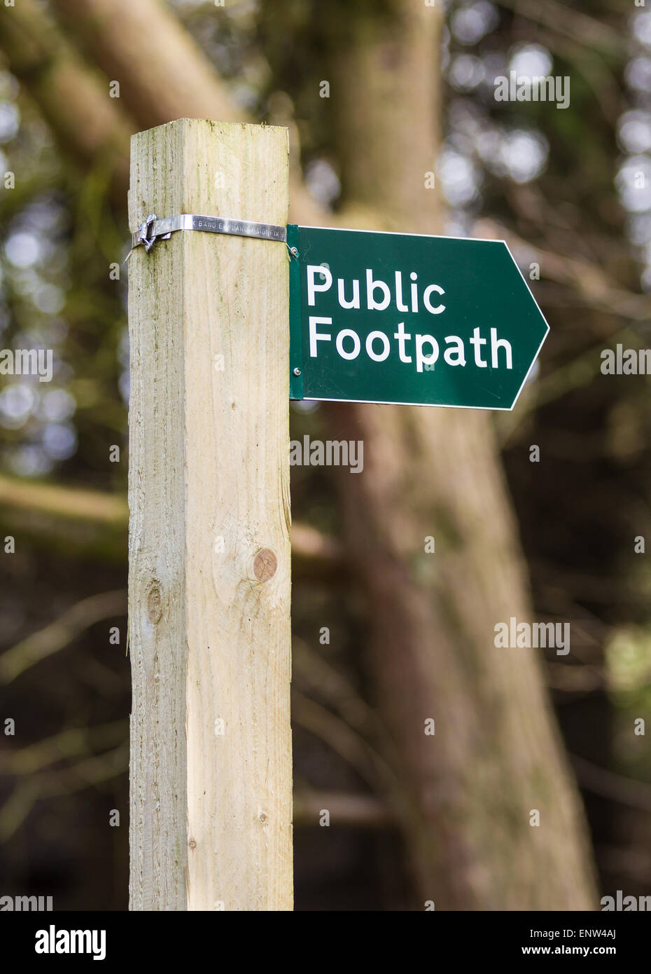 Public Footpath sign in the English Countryside - Stock Image