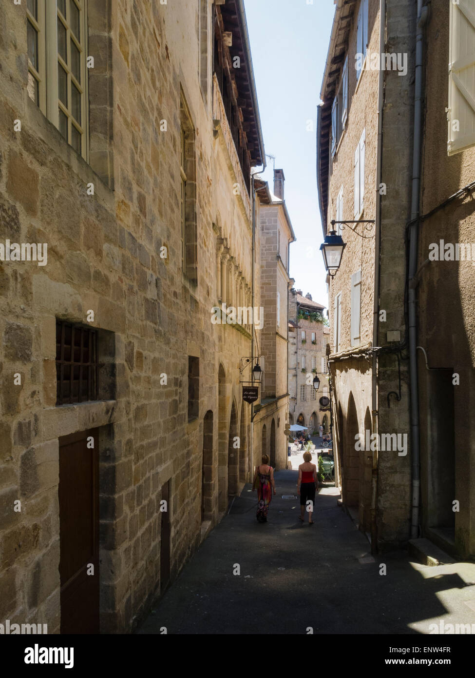 The historical town of Figeac in the Lot region of France is famous for its old merchants' houses with roof - Stock Image