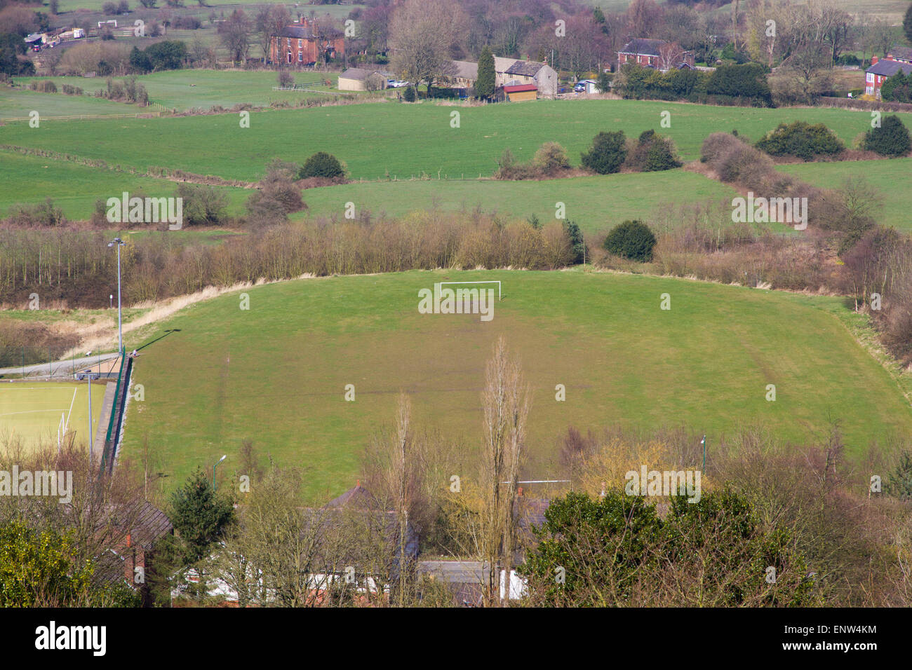 Overlooking an amateur football pitch in Greater Manchester - Stock Image