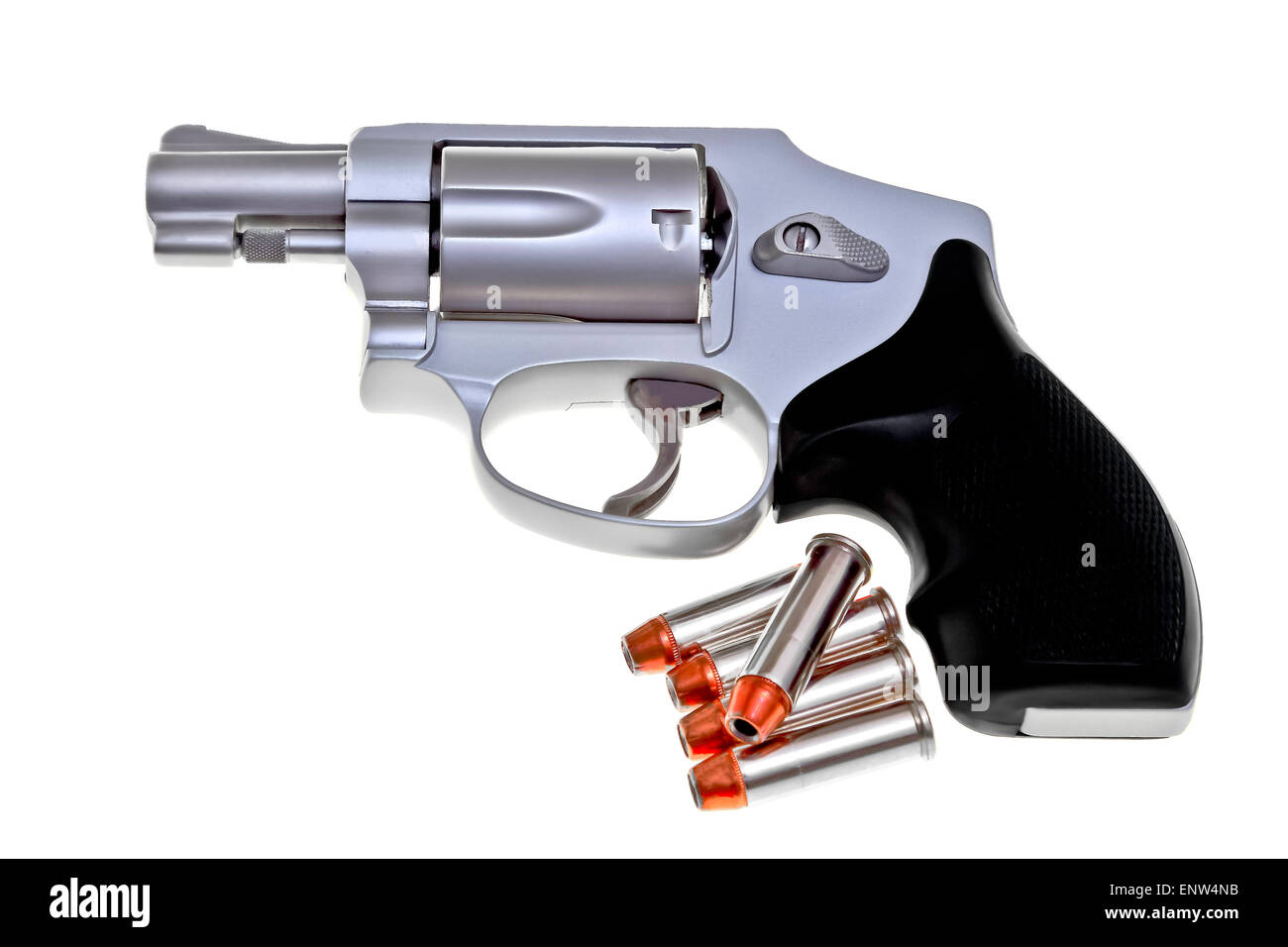 Modern titanium revolver with five .38 cartridges isolated on white background - Stock Image
