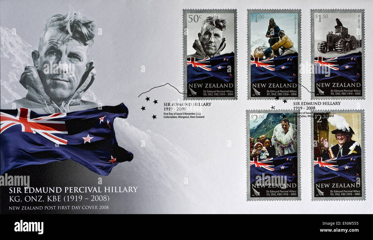 first day cover philatelic envelope commemorating Sir Edmund Hillary - Stock Image