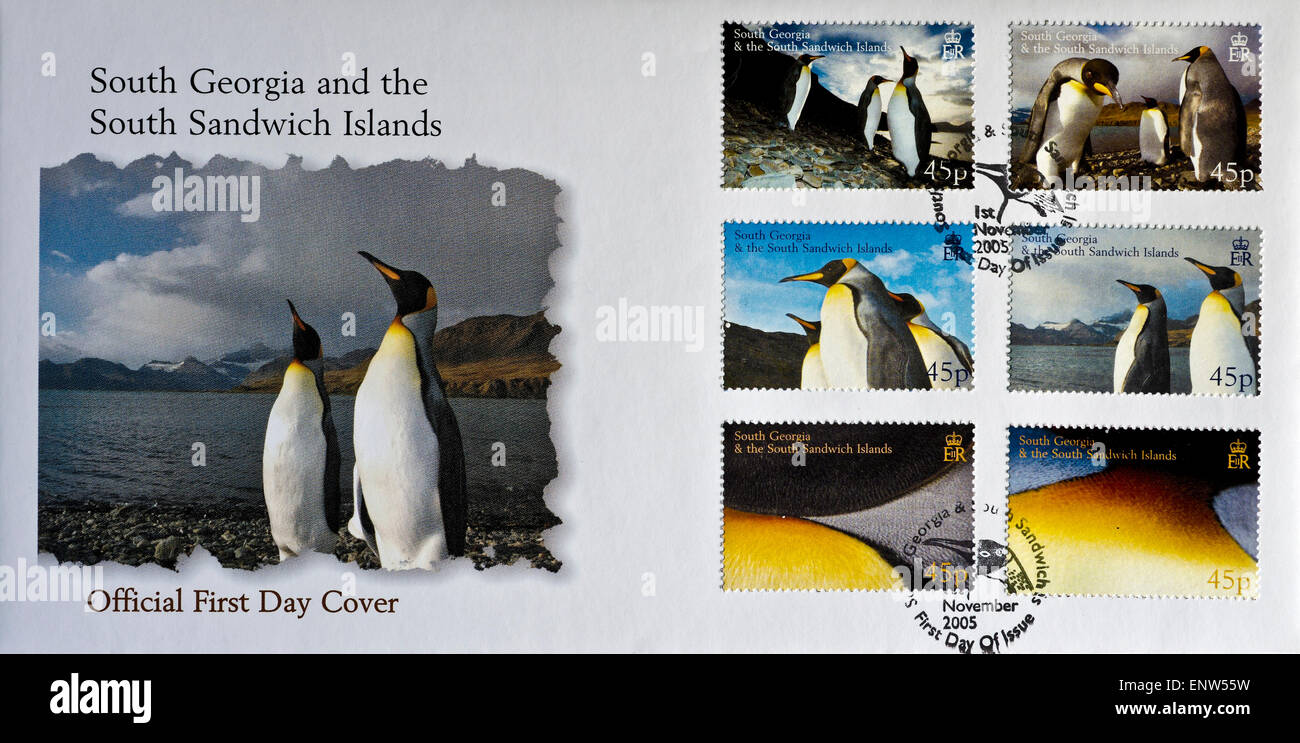 first day cover philatelic envelope South Georgia penguin stamps - Stock Image