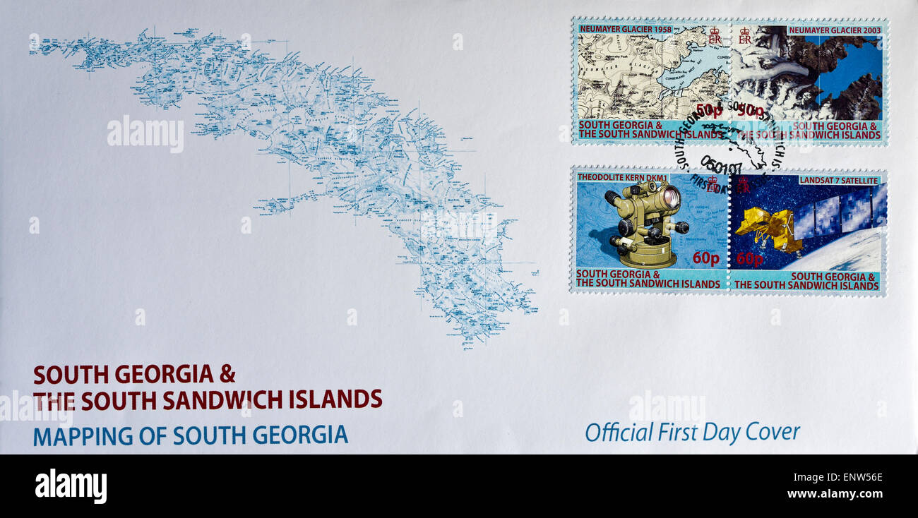 first day cover philatelic envelope mapping of South Georgia stamps - Stock Image