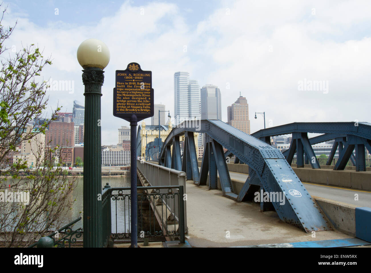 Pittsburgh, PA, USA - May 5, 2015 : Smithfield street bridge with marker memorializing designer John A. Roebling - Stock Image