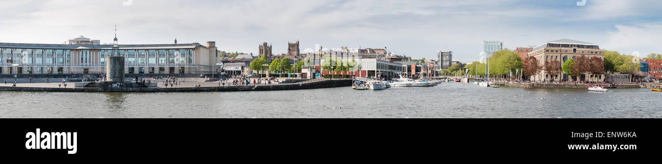 The Bristol City Center waterfront. Showing views across Bristol's floating harbor. - Stock Image