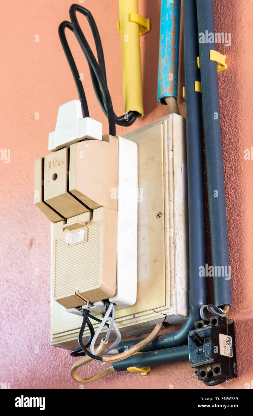 Breaker Box Stock Photos Images Alamy Wiring Twin On The Wall Of Countryside House Image