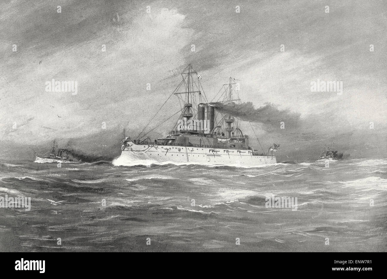 The United States Battleships USS Illinois, USS Alabama and USS Wisconsin during the Spanish American War - Stock Image