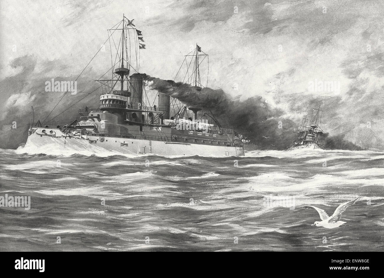 The United States Battleships USS Kearsage and USS Kentucky during the Spanish American War - Stock Image