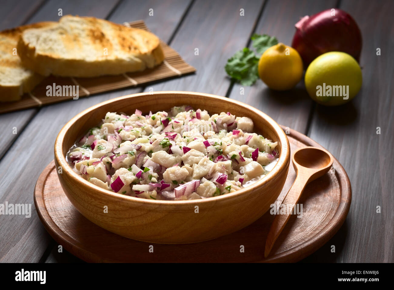 Chilean Ceviche made of Southern Ray's bream fish (lat. Brama Australis, Spanish Reineta), onion, garlic and - Stock Image