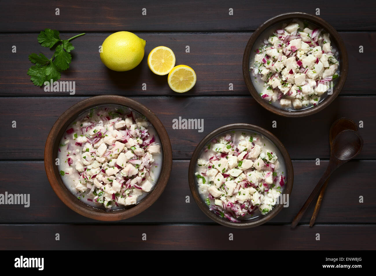 Chilean Ceviche made of Southern Ray's bream fish (lat. Brama Australis, Spanish Reineta), onion, garlic, cilantro, - Stock Image