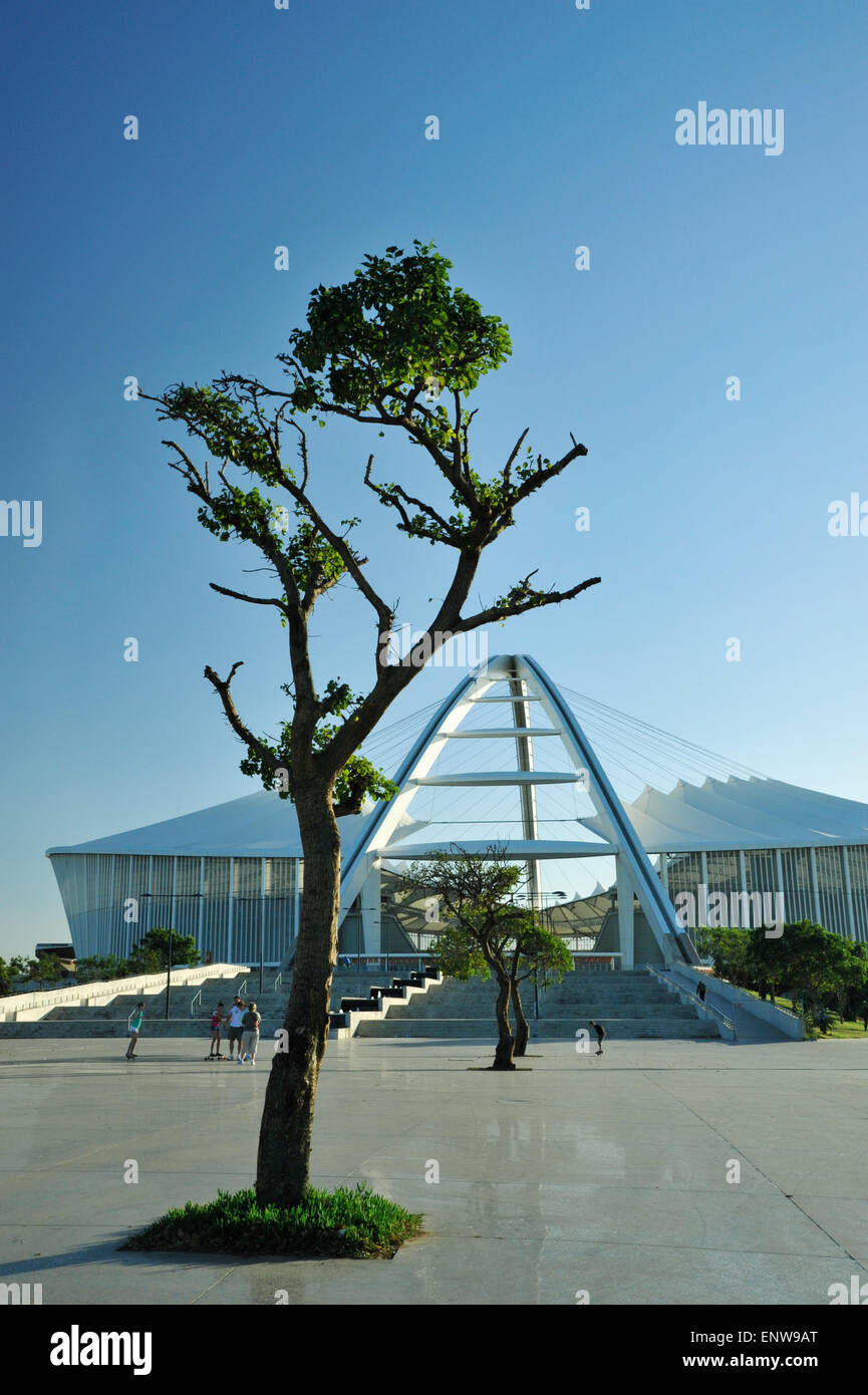 Family enjoying open architectural spaces of iconic Moses Mabhida football stadium Durban South Africa Architecture - Stock Image