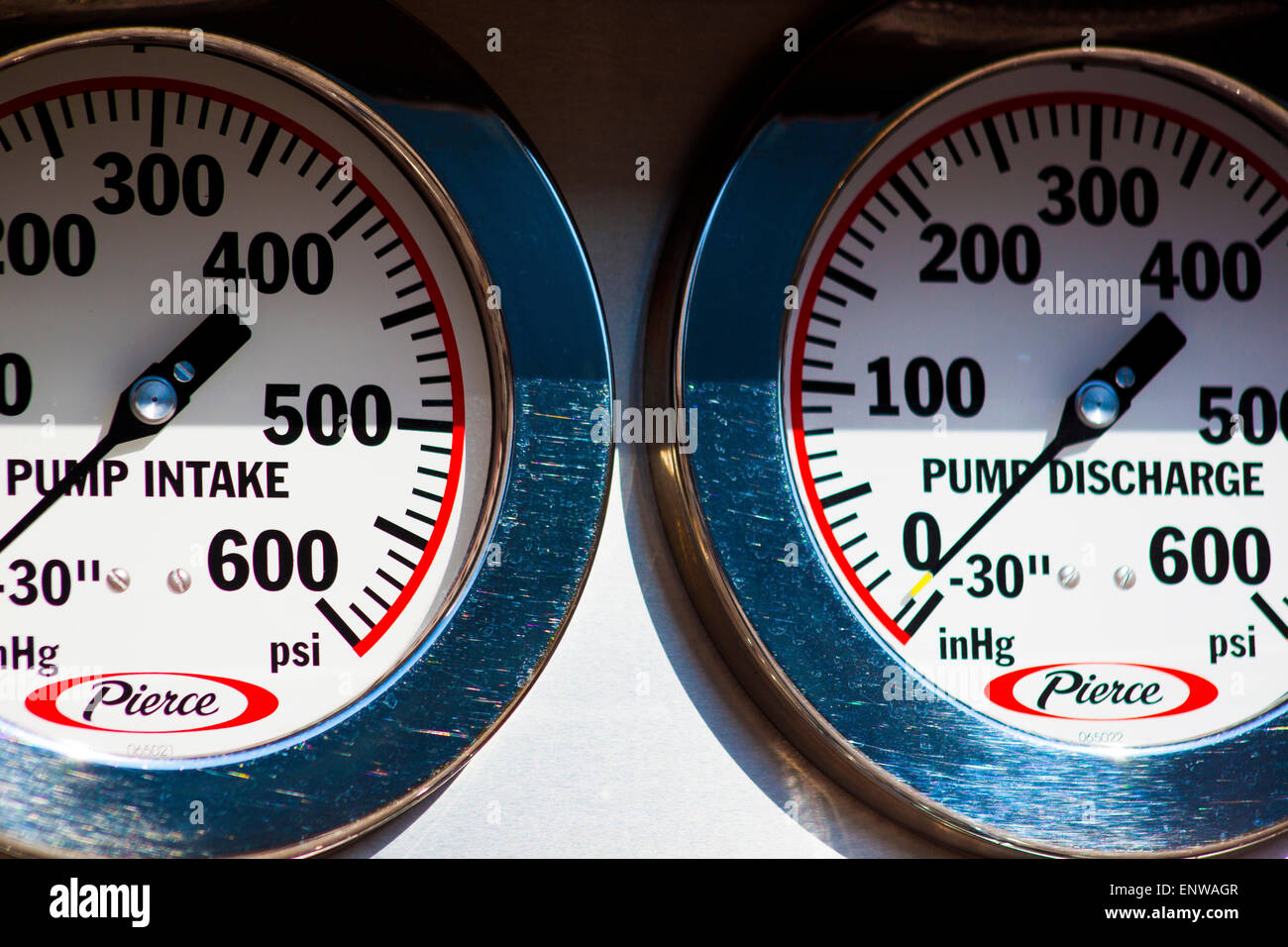 Pressure Gauges on a Fire Truck - Stock Image