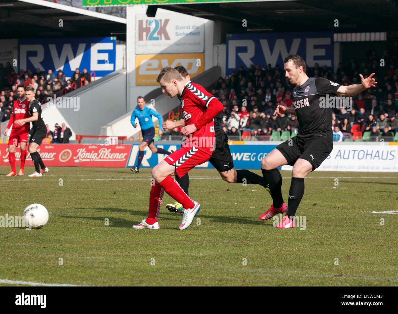 sports, football, Regional League West, 2014/2015, Rot Weiss Oberhausen versus Rot Weiss Essen 1:0, Stadium Niederrhein - Stock Image