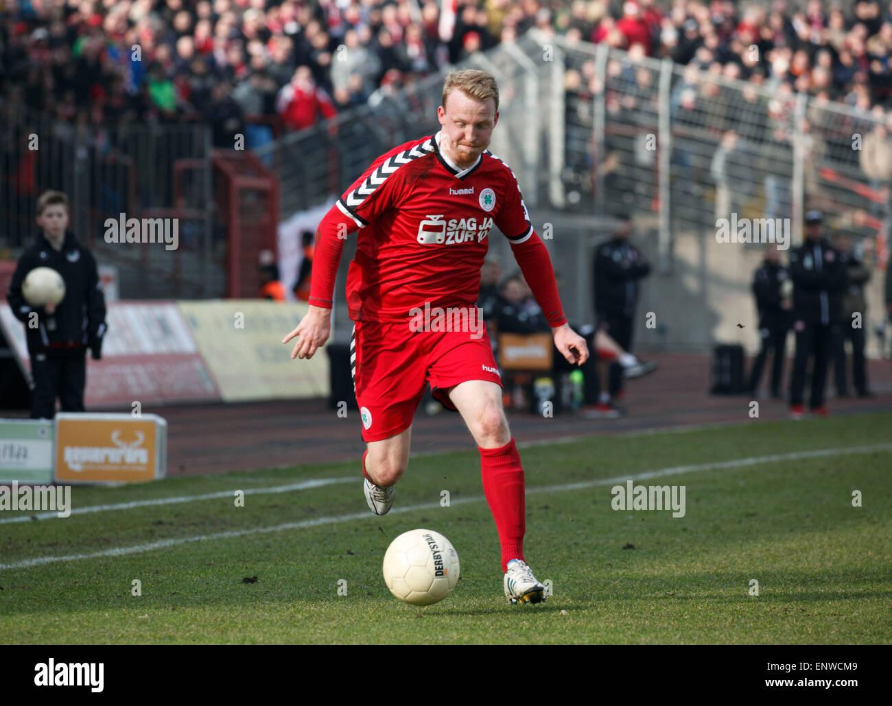 sports, football, Regional League West, 2014/2015, Rot Weiss Oberhausen versus Rot Weiss Essen 1:0, Stadium Niederrhein Stock Photo