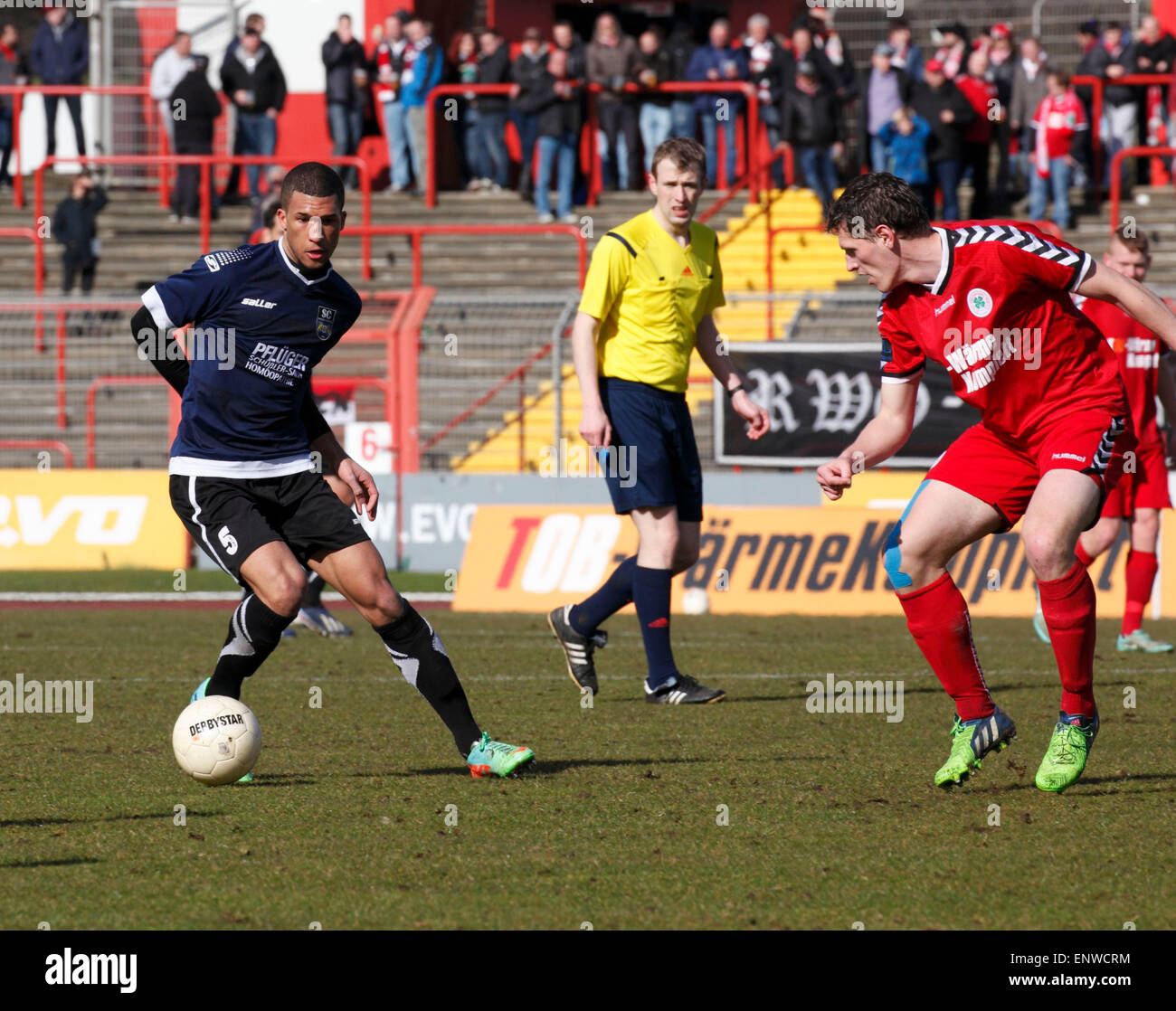 sports, football, Regional League West, 2014/2015, Rot Weiss Oberhausen versus SC Wiedenbrueck 2000 4:0, Stadium - Stock Image