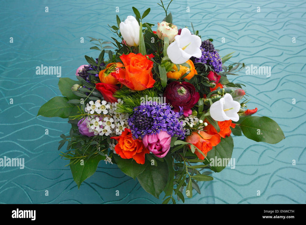 nature, plants, flowers, bunch of flowers, birthday bouquet, red roses, tulips, buttercups, ranunculus, Canterbury - Stock Image