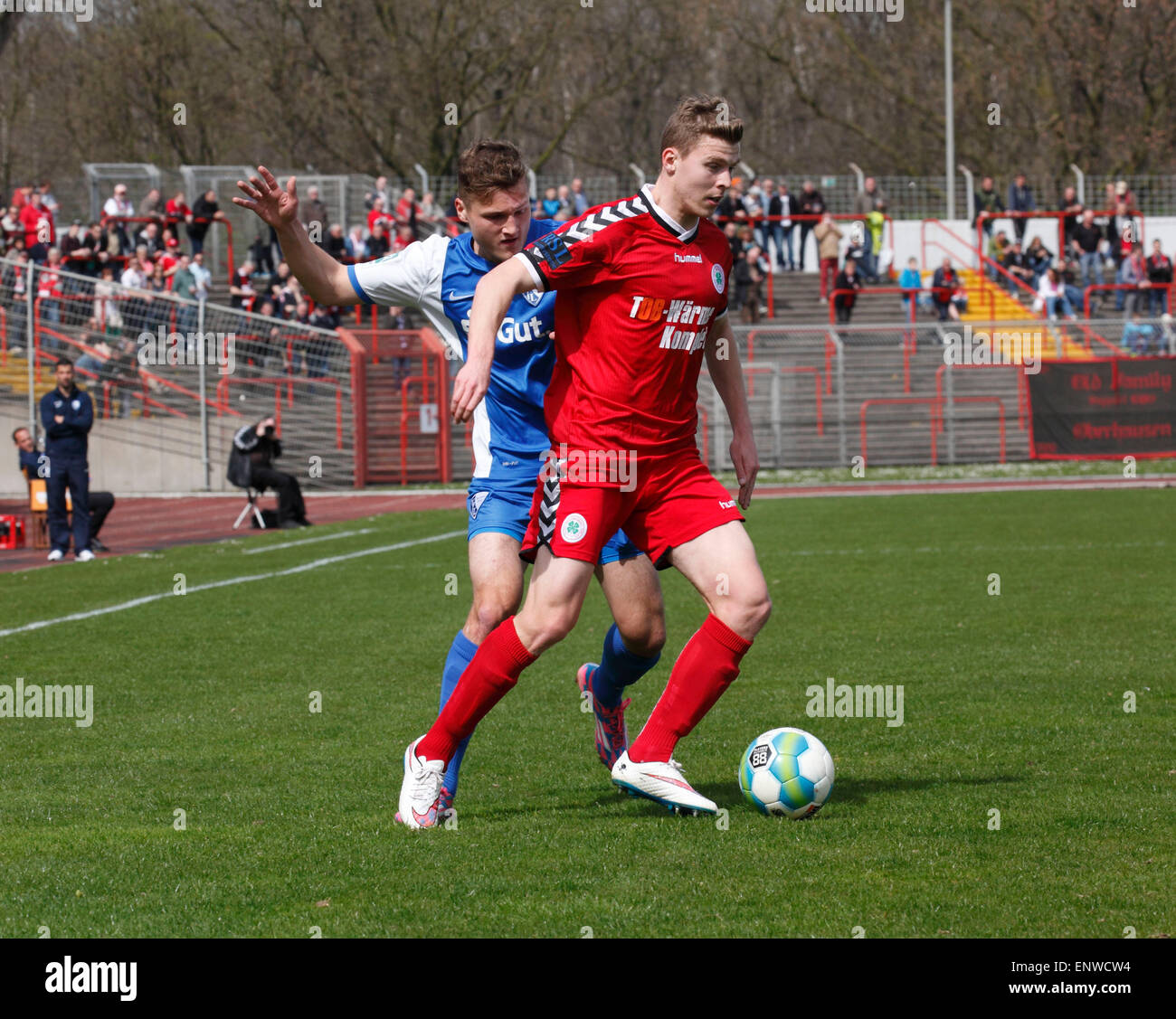 sports, football, Regional League West, 2014/2015, Rot Weiss Oberhausen versus VfL Bochum U23 2:3, Stadium Niederrhein Stock Photo