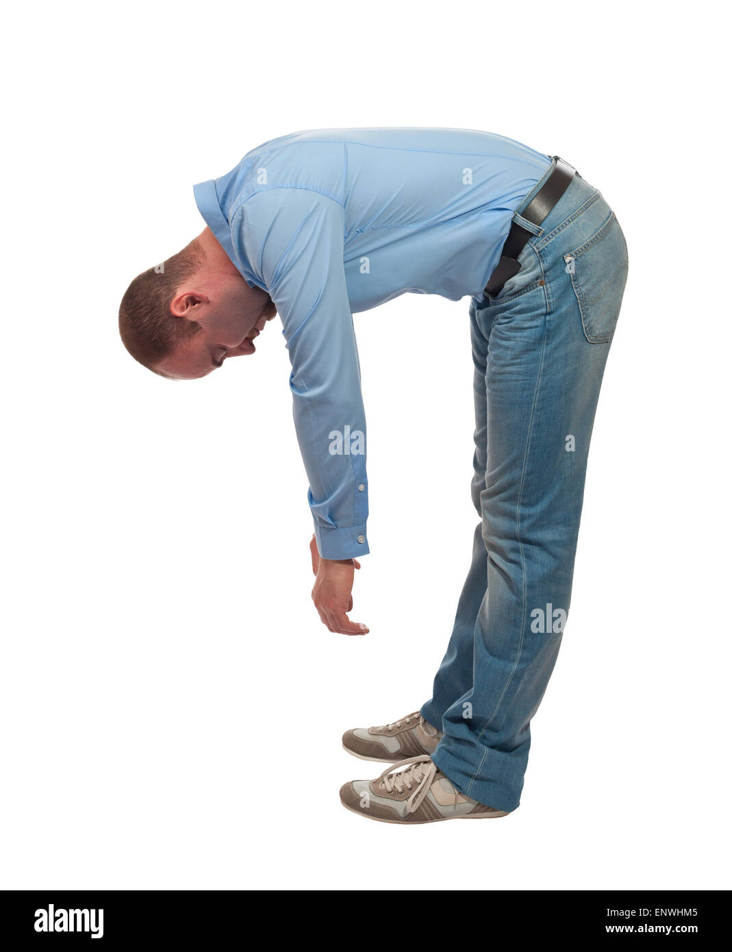 tired bend man isolated on white background - Stock Image
