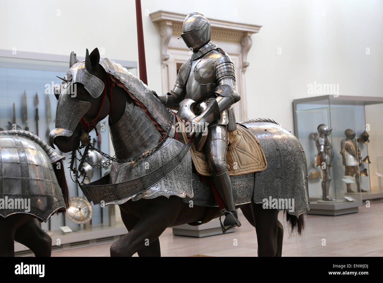 Armor for combat. Plate armour for man and horse. Europe. Metropolitan Museum of Art. New York. USA. - Stock Image