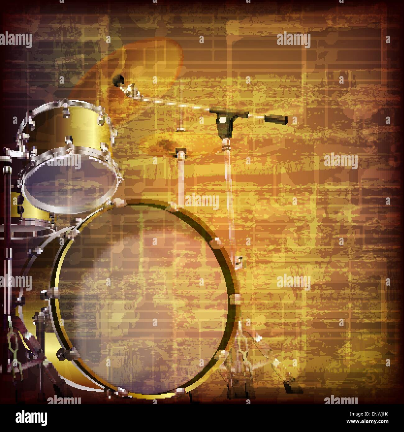 abstract grunge brown cracked music symbols vintage background with ...