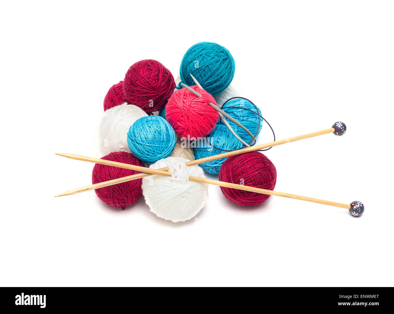 colorful balls of wool with needles - Stock Image