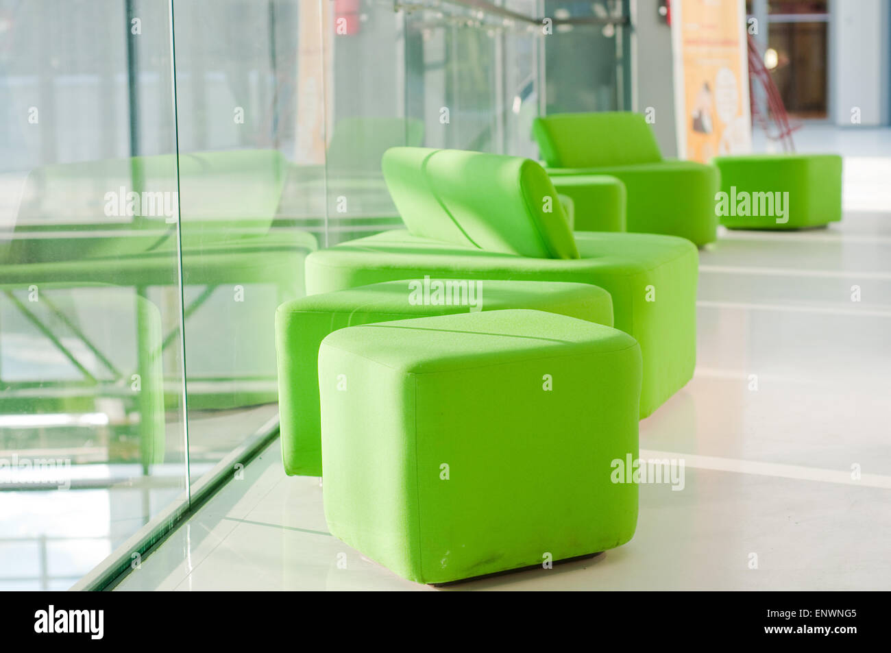 Shot of green armchairs in interior - Stock Image
