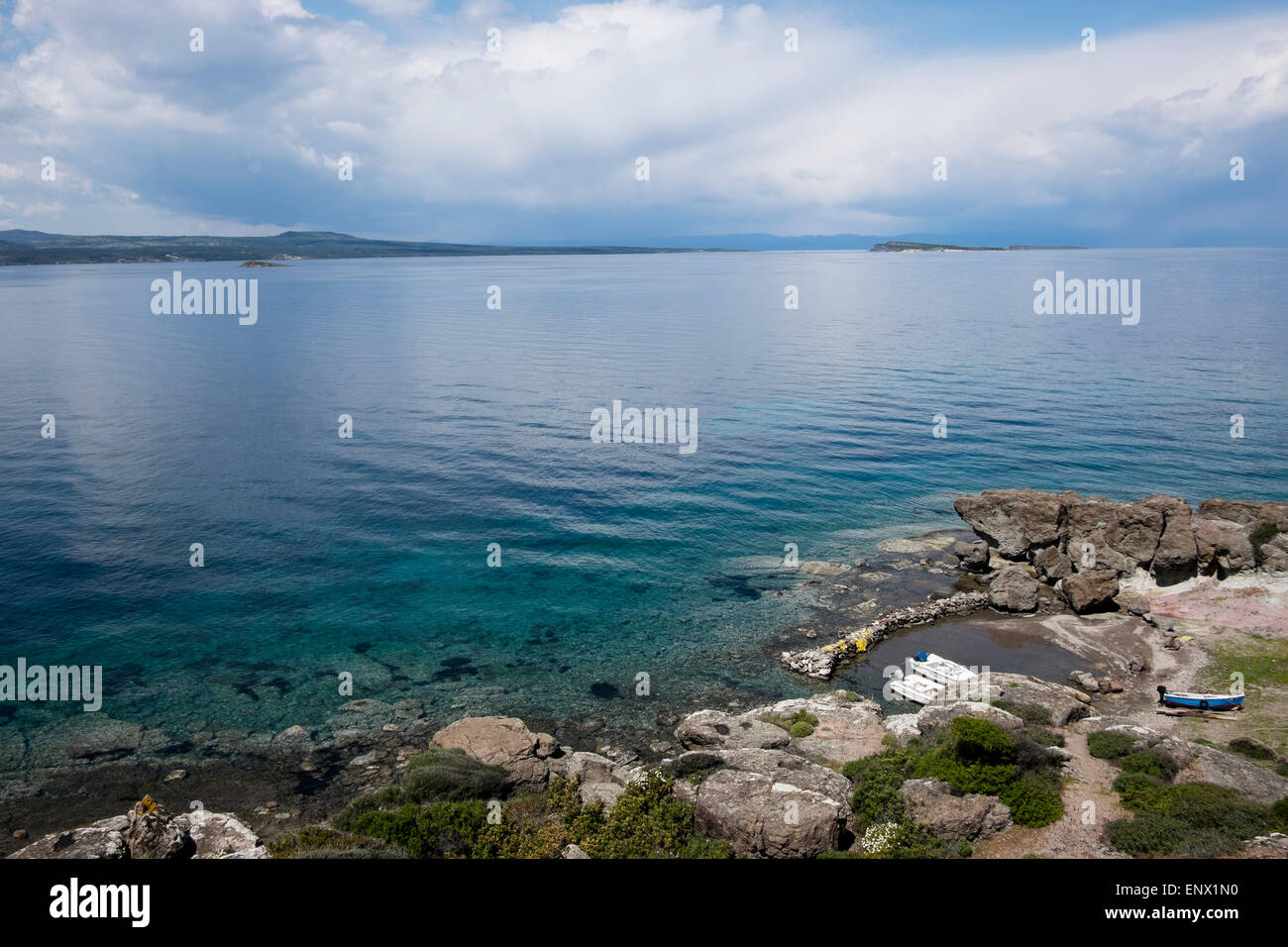 Coast in Lesvos island, Greece. - Stock Image