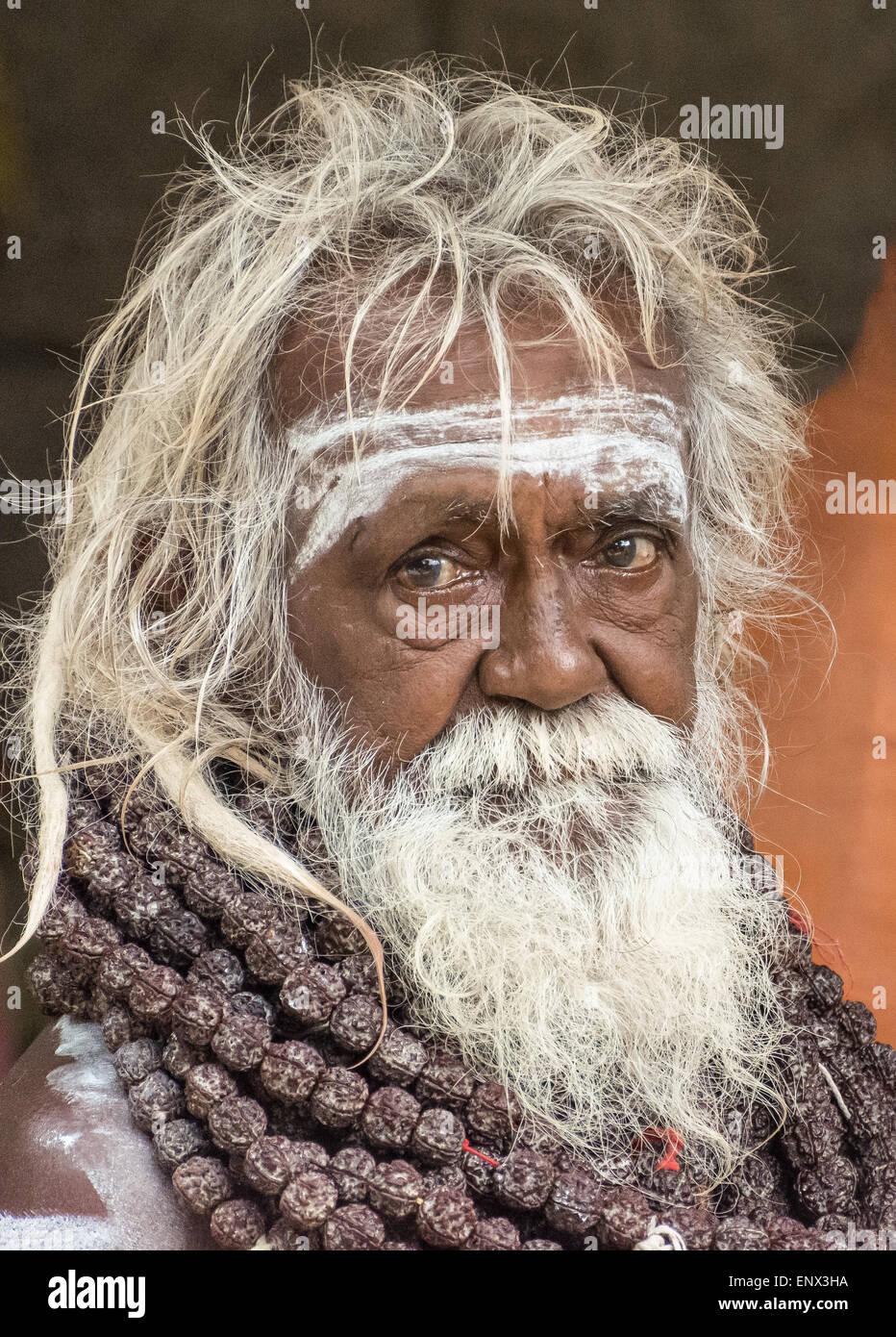 Portrait of a sadhu at the Sri Ramana Ashram in Tiruvannamalai, India - Stock Image