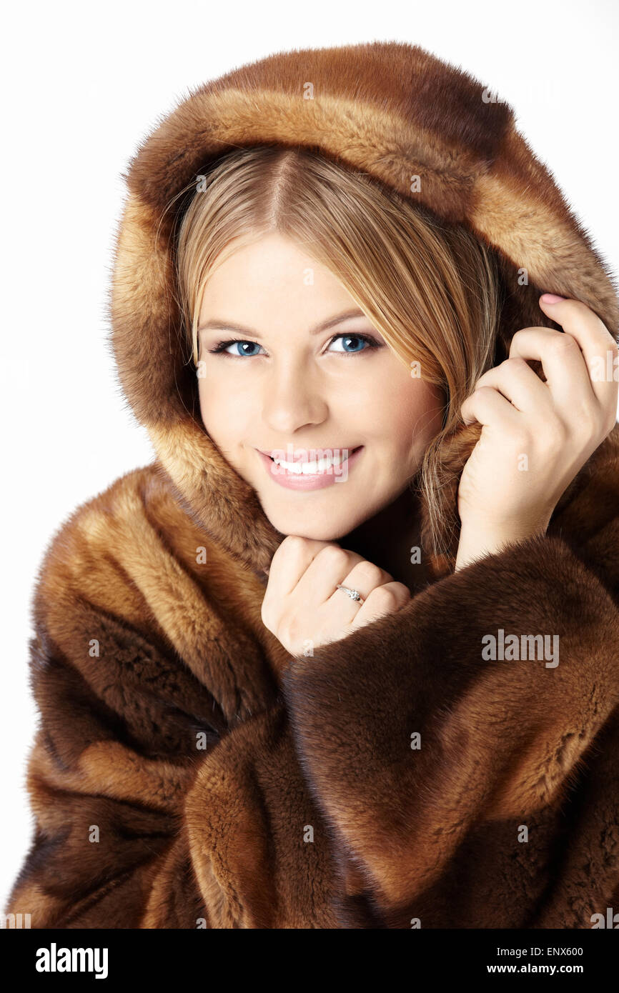 All not Beautiful blonde in fur coat excited too