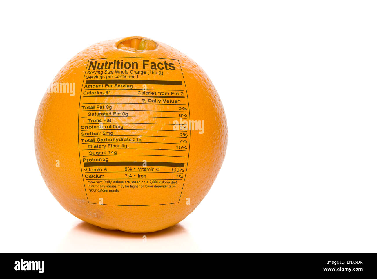 Orange Nutrition Facts Stock Photo Alamy