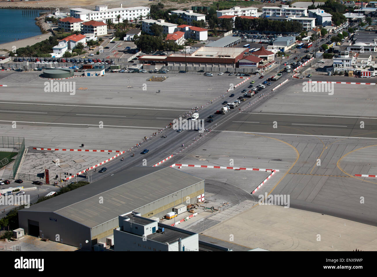 Landebahn des Flughafens Gibraltar - Stock Image
