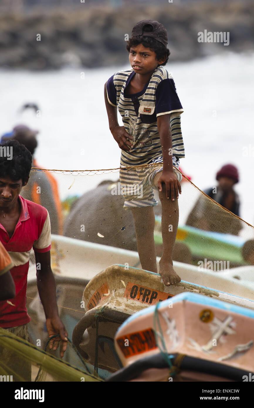 On the beach - Negombo, Sri Lanka - Stock Image