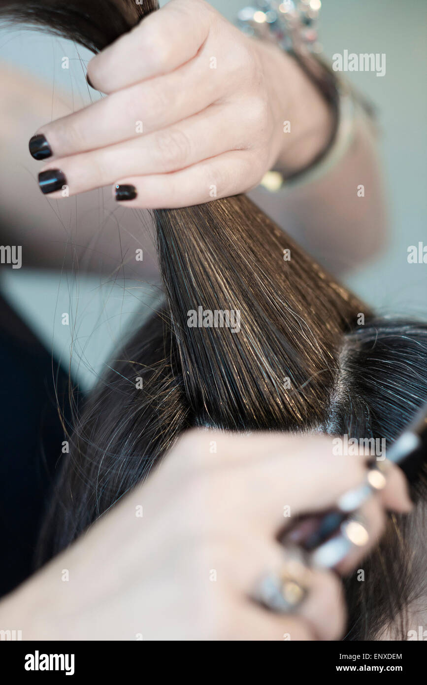 hairstylist cutting hair of female customer detail - Stock Image