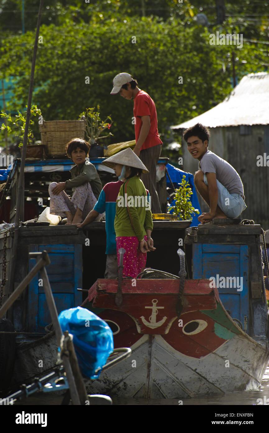 Swimming Market - Mekong, Vietnam - Stock Image